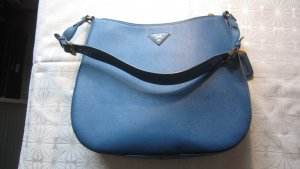 Prada Hobos neon blue-gold-colored leather