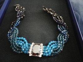 Swarovski Collar estilo collier turquesa-azul tejido mezclado
