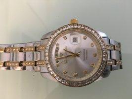 Preisreduzierung! Yves Camani Quarz Uhr, silberfarben mit gold/neue Batterie