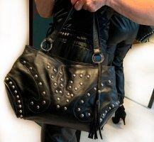 Preissenkung! Rockige Handtasche aus Leder mit Nieten, wie neu!