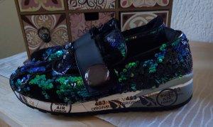 Premiata Sneaker schwarz/grün mit Pailletten Gr.38 neuwertig