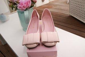Pretty ballerinas Bailarinas de charol con tacón rosa empolvado-rosa Cuero