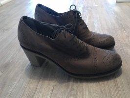 Progetto Schuhe Pumps Budapester Leder Top Gr.40 neu Braun taupe