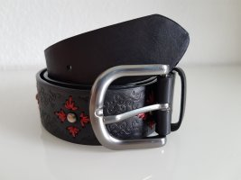 Promod Faux Leather Belt black-red polyurethane