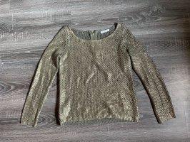 Promod Pullover strickpullover beschichtet glänzend Lack Bronze Khaki olivgrün Gold