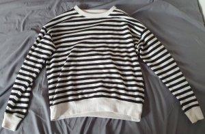 Pull & Bear Jersey de cuello redondo blanco-negro
