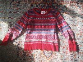 H&M Norwegian Sweater red-neon blue