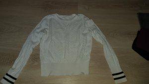 H&M Szydełkowany sweter biały-czarny