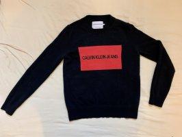 Calvin Klein Jeans Sudadera de punto fino negro-rojo Lana