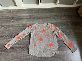 Pullover beige Sterne Orange neon muster rundhals Ausschnitt ONLY Oberteil strickpullover