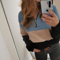 pullover blau rosa schwarz