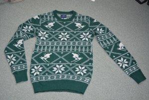 Pullover dunkelgrün winterliches Muster