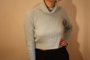 Pullover fein gestrickt mit hohem Kragen, hellblau crop top Angora   Benetton