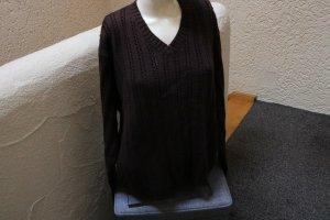 Eddie Bauer V-Neck Sweater dark brown cotton
