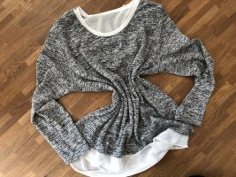 Pullover - grau meliert - verspielter Rücken - M
