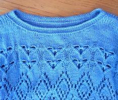 Pullover Lochstrick Gr. 38/40 hellblau reine Wolle