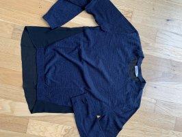 Calvin Klein Jeans Pull ras du cou noir-bleu foncé