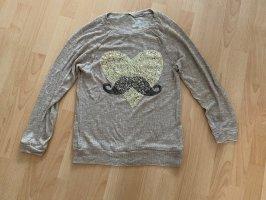 Pullover mit Pailletten gold/beige Größe L