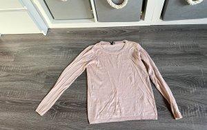 Pullover oberteil Lachs pink rosa langarm Basic Schleife schwarz
