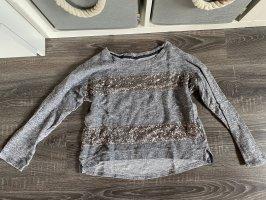 Pullover oberteil Shirt grau glitzer gestreift Pailletten