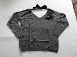 Promod Jersey con cuello de pico gris-gris oscuro