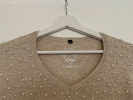 Cassani Sweter z dekoltem w kształcie litery V beżowy
