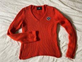 Pullover rot Polo V-Auschnitt