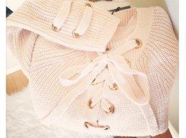 Pullover Schnürung Schleife rosa blogger hipster boho Volants