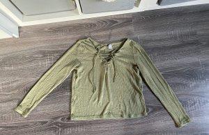 Pullover Shirt Khaki olivgrün Bänder schnüren schnürung binden