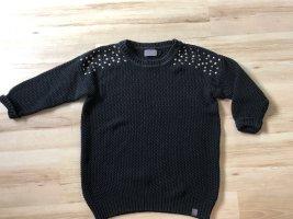 Pullover Strick Pulli schwarz mit Noppen Gr M