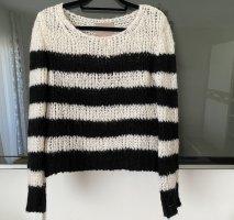 81hours Pull tricoté noir-blanc