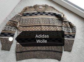 Vintage Pull en laine gris brun-brun
