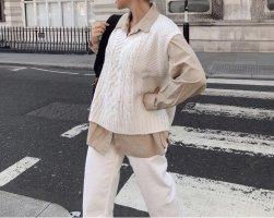 H&M Cardigan lungo bianco sporco-beige chiaro