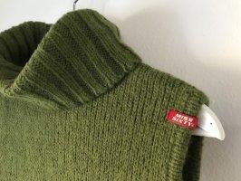 Miss Sixty Sweter bez rękawów z cienkiej dzianiny oliwkowy
