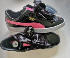 puma sneaker basket heart stars gr. 38 Schuhe schwarz pink lack