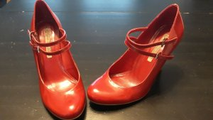 Buffalo London Escarpins Mary Jane rouge brique cuir