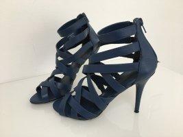 Zara Pumps met bandjes staalblauw-blauw Leer