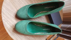 Jane Klain Wedge Pumps green leather