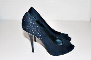 Pumps High Heels Dunkel Blau Navy Silber 38