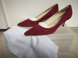 Jimmy Choo Pointed Toe Pumps raspberry-red leather