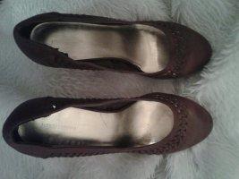 H&M Zapatos de cuña marrón tejido mezclado