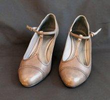 esprit collection Escarpins Mary Jane gris-gris brun cuir