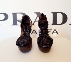 Sonia Rykiel T-Strap Pumps dark brown-black brown leather