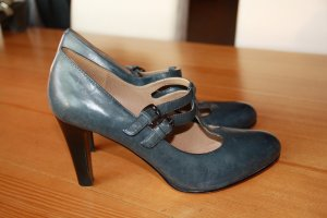 5th Avenue Strapped pumps dark blue-slate-gray leather