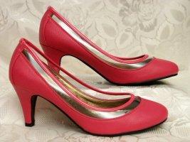 Pumps Pink Größe 38 Roundtoe Leder-Decksohle