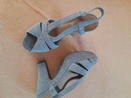 Sandały na grubym obcasie srebrny Tkanina z mieszanych włókien