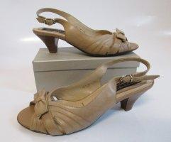 Pumps Sandalen Größe 36 von 5TH Avenue Nude Beige Sommer Leder Schuhe Schleife Rockabilly Sandale Slingback Peeptoe