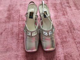 Casadei Slingback Pumps silver-colored-light grey leather