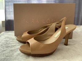 Pura Lopez edle leder Sandaletten Gr.36 Hautfarbe Beige