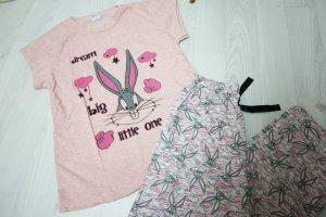 Pijama rosa-gris